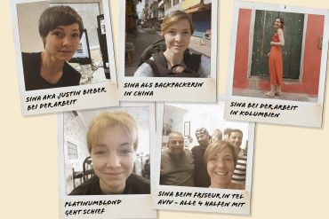 Sina auf fünf unterschiedlichen Polaroids mit unterschiedlichen Frisuren, Kurzhaar und Langhaar