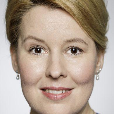 Auf dem Bild ist das Gesicht der am 19. Mai zurückgetretenen Familienministerin Franziska Giffey zu sehen.