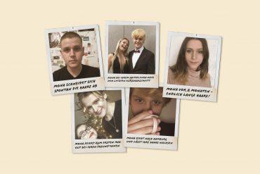 Mona auf Polaroids mit unterschiedlichsten Frisuren.