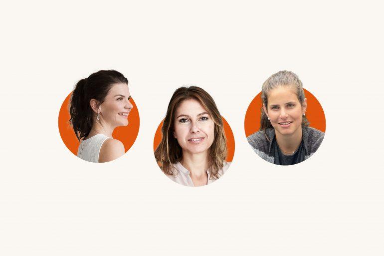 Drei Frauen in runten roten Kreisen auf weißem Hintergrund: Tanja Kliewe-Meyer, Susanne Wege, Julia Görges