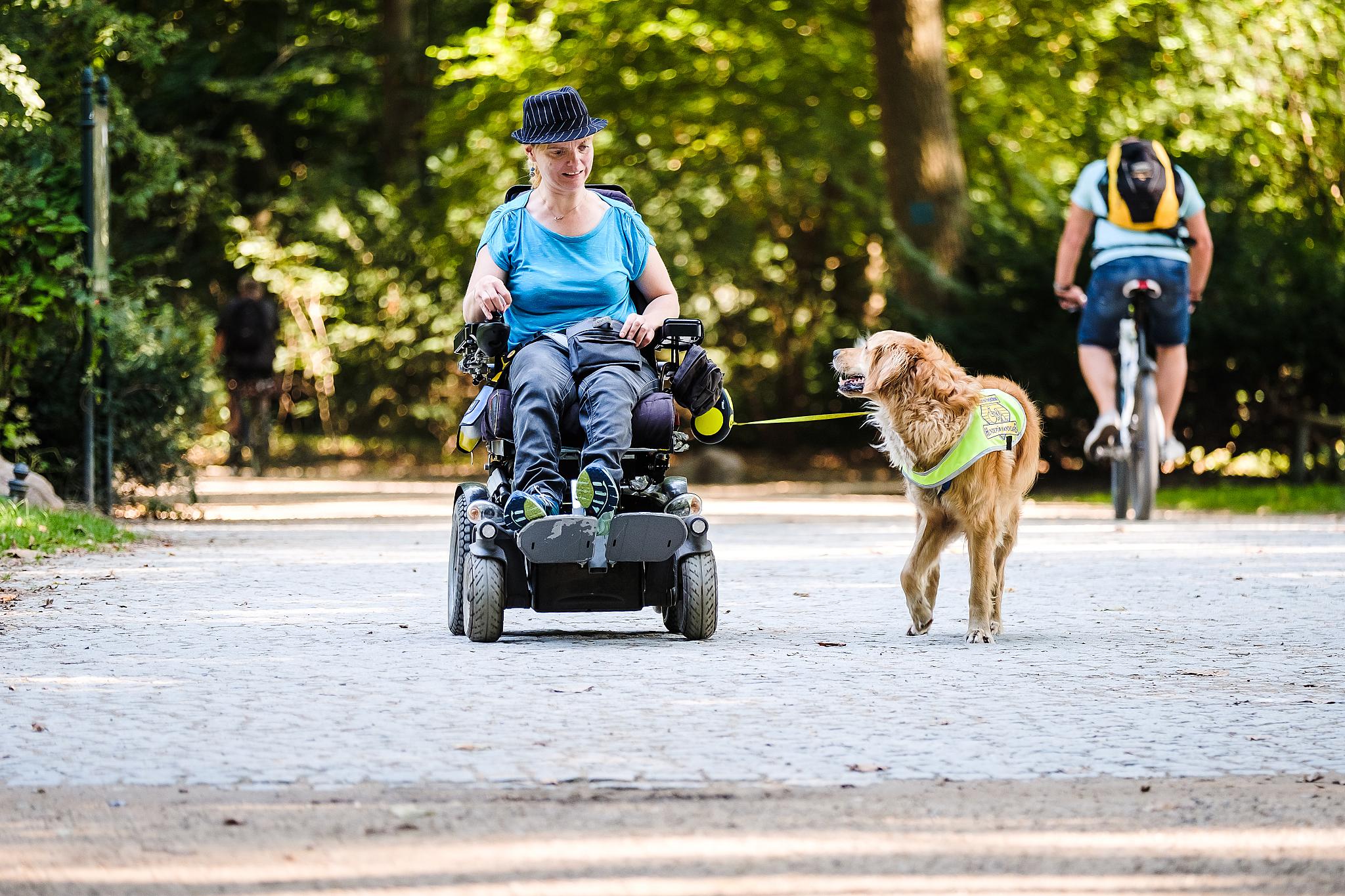 Eine Frau ist im Rollstuhl mit ihrem Assistenzhund im Park unterwegs.