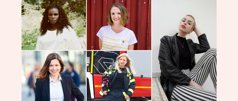 Auf dem Bild sind die fünf Frauen zu sehen, die für diesen Artikel interviewt wurden: Mireille Ngosso, Eva Schulte-Austum, Madita Haustein, Marie Trappen und Maike Schöfer