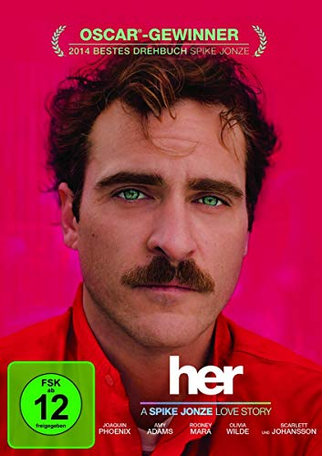 "Pinkes Cover des Films ""her"" mit Schauspieler Joaquin Phoenix"