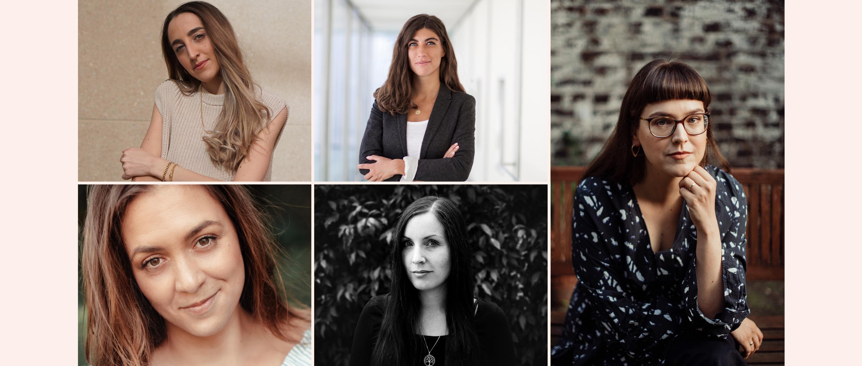 Auf dieser Collage sind Lisa Zaiser, Eszter Jakab, Melisa Erkurt, Hilke aka Mama Ante Portas und Luisa Hanke zu sehen
